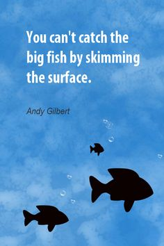 Daily Quotation for September 7, 2012    #quote  #quoteoftheday  You can't catch the big fish by skimming the surface. - Andy Gilbert