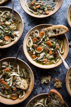 Winter Vegetable Chicken Noodle Soup with Asiago Crostini | halfbakedharvest.com @hbharvest