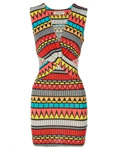 Aztec Print Cut Out Detail Multi Colour Mini Dress  £18.95 #ChiaraFashion