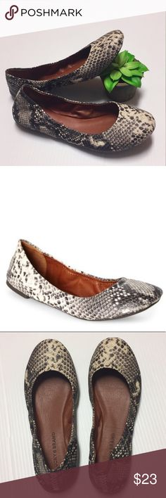 ☘️ Lucky Brand flats Lucky Brand snake skin patterned flats, corset stitching across back heels, black, gray and cream snakeskin pattern, very good preowned condition with light wear, mostly to the back heels as shown Lucky Brand Shoes Flats & Loafers