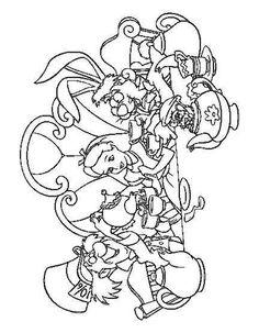 Alice tea party coloring page