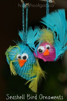 seashell bird ornaments - an easy and adorable nature craft for kids (happy hooligans)