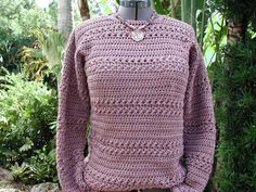 Crochet Sweater Great Fitting Classic in Champagne by rrdesigns561
