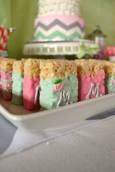 Pink, mint, gray, chevron Baby Shower Party Ideas | Photo 7 of 22 | Catch My Party
