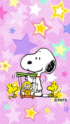 Snoopy, Woodstock and a Friend Putting on a Marionette Show With Stars All Around