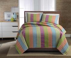 Opentip.com: PEM America QS9491TW-2300 Bright Plaid Stripe Twin Quilt with Pillow Sham