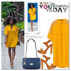 Hello Yellow! by arethaman on Polyvore featuring polyvore fashion style Zara Dsquared2 DKNY MELLOW YELLOW Summer BloggerStyle yellowdress clogs simplycyn