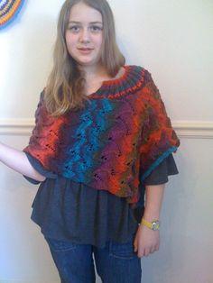 Knitting pattern  Poncho Ablaze pdf. instant download by Clovetree