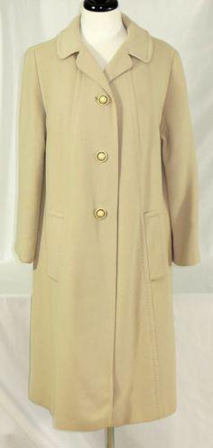 Womens Vintage Coat 100% Cashmere Cream Beige Ivory Solid M / L #Unbranded #BasicCoat