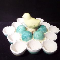 Chocolate Decorated Egg Holder Easter Candy Dish Chick Vintage Ceramic Plate