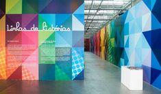 Linhas de Histórias - exhibition with a signage and printed pieces created by the Brazilian studio Campo.