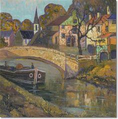 Fern Isabel Coppedge Pennsylvania Impressionist Painter, The Canal Bridge, New Hope, Pa.