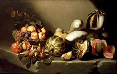 Still Life with Fruit on a Stone Ledge is a painting attributed to the Italian Baroque master Michelangelo Merisi da Caravaggio . Chiaroscuro, Renoir, Baroque Painting, Baroque Art, Italian Baroque, David Et Goliath, Michelangelo Caravaggio, Art Du Monde, Painting Art
