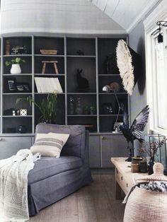 Dark bookshelves