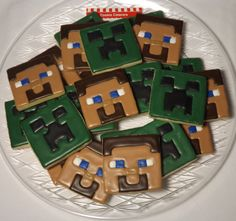 MineCraft Cookies MineCraft Party Favors Minecraft Cookies, Minecraft Party Favors, Sugar Cookies, Catering, Ash, Birthday Ideas, Corner, Party Ideas, Desserts