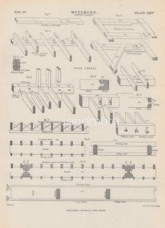 1897 Steel Engraving Print-Gebäude-Gebäude Beitritt Platten Boden Timbers Zimmerei Frame