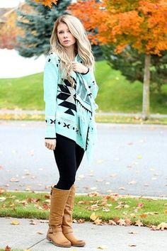 Mint Tribal Fringe Cardigan Sweater $43