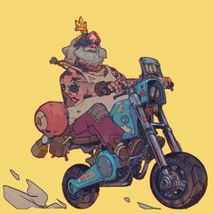 The sketch from yesterday, cleaned up and colored. Cyberpunk Character, Cyberpunk Art, Character Concept, Character Art, Concept Art, Arte Nerd, Car Illustration, Bike Art, Character Design Inspiration