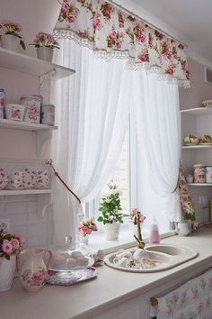 Find more ideas: Shabby Chic Kitchen Curtains Vintage Kitchen Curtains Country Kitchen Curtains Kitchen Curtains With Blinds Long Rustic Kitchen Curtains 10 DIY Dorm Decor Simple and Easy Landscape Painting Extremely Beautiful Pastel Watercolor Paintings Shabby Chic Kitchen Curtains, Country Kitchen Curtains, Shabby Chic Homes, Shabby Chic Decor, Kitchen Country, Kitchen Small, Kitchen Rustic, Rustic Curtains, Stylish Kitchen