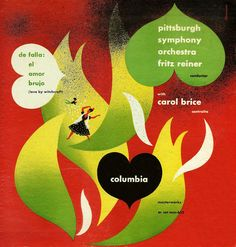 "1946 ""El Amor Brujo"" (Love by Witchcraft) Pittsburgh Symphony Orchestra [Columbia Masterworks catalogue no. Vinyl Cover, Cover Art, Bad Album, Album Cover Design, Vintage Vinyl Records, Vinyl Art, Art Music, Album Covers, Jazz"
