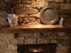 Outdoor Rustic Fireplace Mantels | ... mantel groups of three look nice without making the mantel look