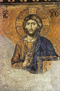 The most famous of the surviving Byzantine mosaics of the Hagia Sophia in Constantinople - the image of Christ Pantocrator on the walls of the upper southern gallery. Christ is flanked by the Virgin Mary and John the Baptist. The mosaics were made in the 12th century.