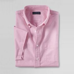 Lands' End Pink men's short sleeve sail rigger oxford shirt- at Debenhams.com