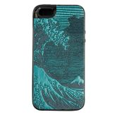 iPhone Leather Case   Hokusai Wave   Teal