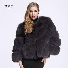 99b21d7bc81 SMFOLW 2017 Women Clothes Fox Fur Coat S 4XL faux fur nine Sleeve Winter  Women Fox Fur Coat Jacket Fur Coat High Imitation YH250-in Faux Fur from  Women s ...