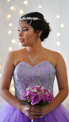 This purple quinceanera dress is perfect for any princess. Violet gown with lace detail and a ball gown drop waist. Any princess would love this dress for her quince, prom, sweet or debutante. Violet Dresses, Quince Dresses, Purple Dress, Purple Quinceanera Dresses, Rent Party, Sweet 16 Dresses, Drop Waist, Event Venues, Lace Detail