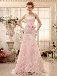 Flower Panel Train Pink Lace Wedding Dress For Bride with Sheath Jewel Neck - Milanoo.com