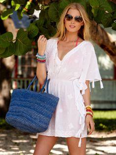 coastal fashion l  white coverup + blue bag l #fashion style l #beach styling