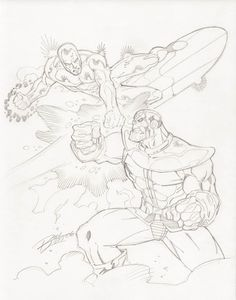 Silver Surfer vs Thanos by Ron Lim