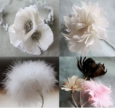 Fabric Flowers, Feather Flowers **for sale, no tutorial but pretty sure I can replicate***