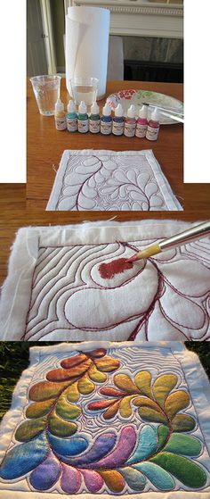 Dye Painting on quilted fabric.