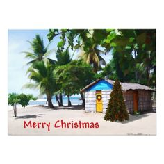 Beach Shack Under the Palms at Christmas Personalized Invites