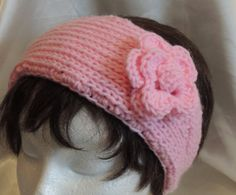 Light Pink Knitted Headband With Crocheted Flower by AuldNouveau, $10.99