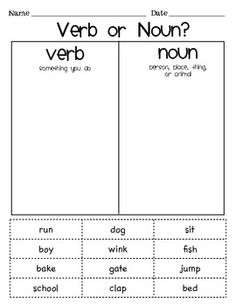 Verb or Noun Sort - Cut and paste activity A plus that the students can sound out and read most words independently