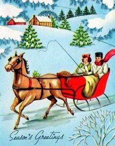 Christmas Couple in Sleigh Vintage Christmas Images, Retro Christmas, Vintage Holiday, Christmas Pictures, Vintage Images, Vintage Greeting Cards, Christmas Greeting Cards, Christmas Greetings, Vintage Postcards