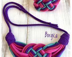 Purple turquoise set recycled fabric jewelry, necklace and bracelet, upcycled textile jewellery, boho style, tshirt yarn necklace,eco,soft