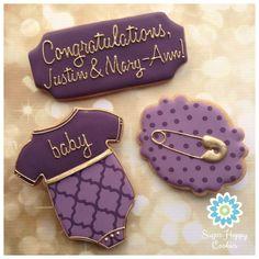 Purple baby shower cookies
