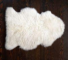 Sheepskin Rug, 2 x 3', Ivory