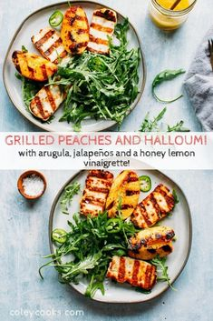Grilled Peaches + Halloumi with Arugula, Jalapeños and a Honey Lemon Vinaigrette! Easy summer salad with so much flavor! #easy #peach #halloumi #grilled #salad #arugula #recipe | ColeyCooks.com Grilling Recipes, Seafood Recipes, Dinner Recipes, Cooking Recipes, Kitchen Recipes, Easy Summer Salads, Summer Recipes, Grilled Halloumi, Farmers Market Recipes