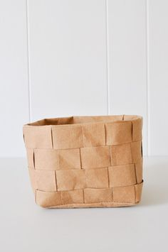 Uashmama washable Paper Basket - Woven Brown by Koromiko. Looks and feels like leather.