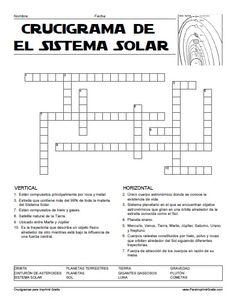 Crucigrama del Sistema Solar para Imprimir Gratis                                                                                                                                                     Más