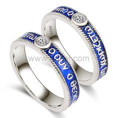 Custom 925 Sterling Silver Couples Promise Rings Set