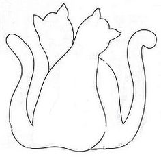 line drawing for applique cat quilt - posted by Edileny Gomes April, 2012 @ http://edipatch.blogspot.com/2012/04/gatos-patchcolagem.html