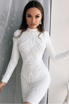 Shop High Neck White Lace Bodycon Club Dress with Long Sleeves from Club Dresses, Sexy Dresses, Beautiful Dresses, Dress Outfits, Evening Dresses, Short Dresses, Dress Up, Formal Dresses, Wedding Dresses