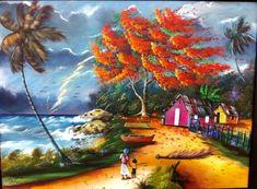 Flamboyan y casitas en la costa tormenta Puerto Rico oil painting Living In Puerto Rico, Puerto Ricans, Native American Art, Beautiful Islands, Tattoo Shop, Pattern Art, Artsy, Culture, Artwork