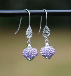 handmade sterling earrings lilac crystal by KarmaKittyJewelry